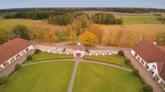 The aerial view of the front of Sagadi manor Stock Footage
