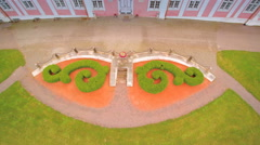 Aerial shot of the front yard of Sagadi - stock footage