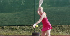 4K Female Tennis Player Trains Forehand Stock Footage