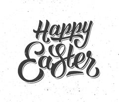 Happy Easter greeting card with hand lettering Stock Illustration
