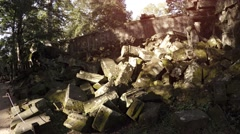 Massive Heap of Ancient Stone Blocks at Cambodian Temple Ruin. Video UltraHD Stock Footage
