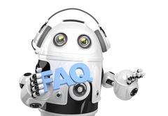 Robot holding FAQs sign. Isolated. Contains clipping path - stock illustration