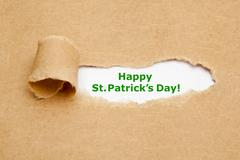 Happy St.Patricks Day Torn Paper - stock photo