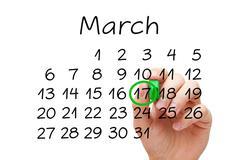 March 17 Saint Patricks Day Calendar Concept Stock Photos