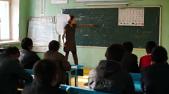 Lesson of the national language in Mongolia's rural school - stock footage