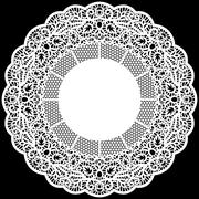 Lace round paper doily, lacy snowflake, greeting element package - stock illustration