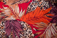 Silk scarf autumnal motifs - stock photo