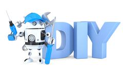 3d robot with DIY sign. Isolated. Contains clipping path - stock illustration