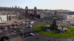 Plaza de Espanya from above, famous Barcelona square, Venetian towers Stock Footage