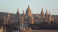 Barcelona National Palace at evening light, small fountain in front of building Stock Footage