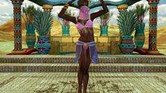 Oriental dance desert, beautiful girl dancing, animation Stock Footage