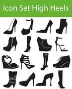 Icon Set High Heels - stock illustration