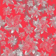 Seamless background. Flowers - Hand Block Prints - stock illustration