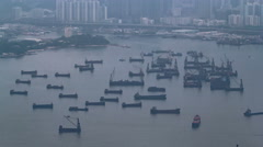 Victoria Harbour and Port of Hong Kong from Victoria Peak timelapse with many Stock Footage