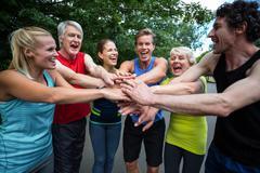 Stock Photo of Marathon athlete making motivation gesture