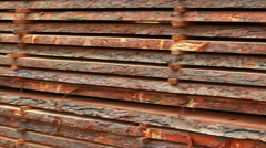 stack of logs on the open stock video - stock footage