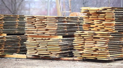 Stack timber warehouse wood industry Stock Footage