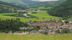 Scottish Border town of Innerleithen on an overcast summer day. Stock Footage