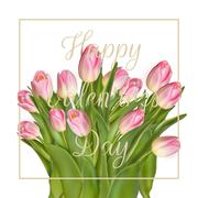 Bunch of pink tulips. EPS 10 Stock Illustration