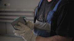 Repairman is Preparing Car  Putty in Service Stock Footage