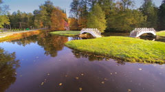 Small lake with small bridges on it Stock Footage
