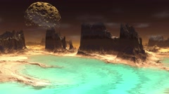 Fantasy alien planet. Rocks and lake. 4K Stock Footage