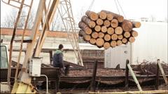 Lifting crane work video wood Stock Footage