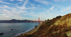 Beautiful sunset views to the San Francisco Golden Gate Bridge, California, USA. Stock Footage
