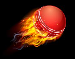 Cricket Ball on Fire - stock illustration
