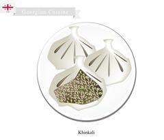 Khinkali or Georgian Dumpling Filled with Spiced Meat Stock Illustration