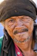 Thai homeless man portrait - stock photo