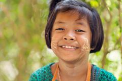 Happy Thai little girl portrait - stock photo