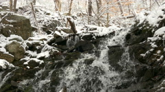 Waterfall in winter forest Stock Footage