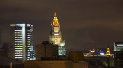 Nighttime timelapse of Moscow. One of the Stalin`s skyscrappers in sight Stock Footage