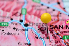 Arezzo pinned on a map of Italy Stock Photos