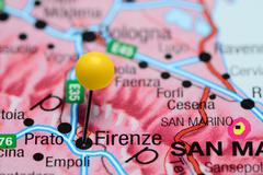 Firenze pinned on a map of Italy Stock Photos