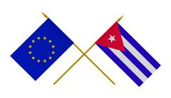 Stock Illustration of Flags, Cuba and European Union