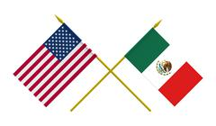 Flags, Mexico and USA - stock illustration