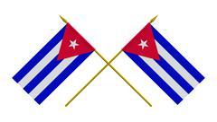 Flags, Cuba - stock illustration