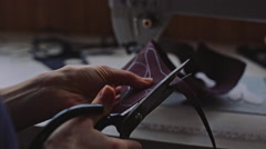 Hand crafting leather goods Stock Footage