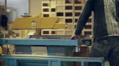 Carpenter circular saw work video Stock Footage