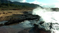 Majorca, sandstone coast hit by waves Stock Footage