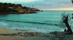 Majorca, Portocolom, lighthouse Stock Footage