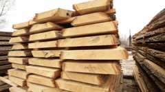 Timber construction timber board wooden - stock footage