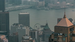 View of Hong Kong from Victoria peak in a foggy morning timelapse Stock Footage