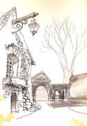 Old European town street fragment Stock Illustration