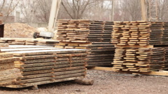 Finished boards in warehouse wooden Stock Footage