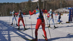 the start of the race in biathlon - stock footage