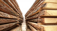 Old sawmill timber board video Stock Footage