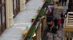 Walkways inside GUM department store PAN - stock footage